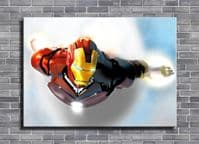 IRON MAN - FLYING CLOUDS canvas print - self adhesive poster - photo print